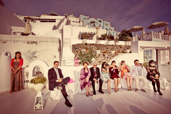 guests at Santorini destination wedding