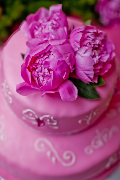 pink wedding cake with peonies on top