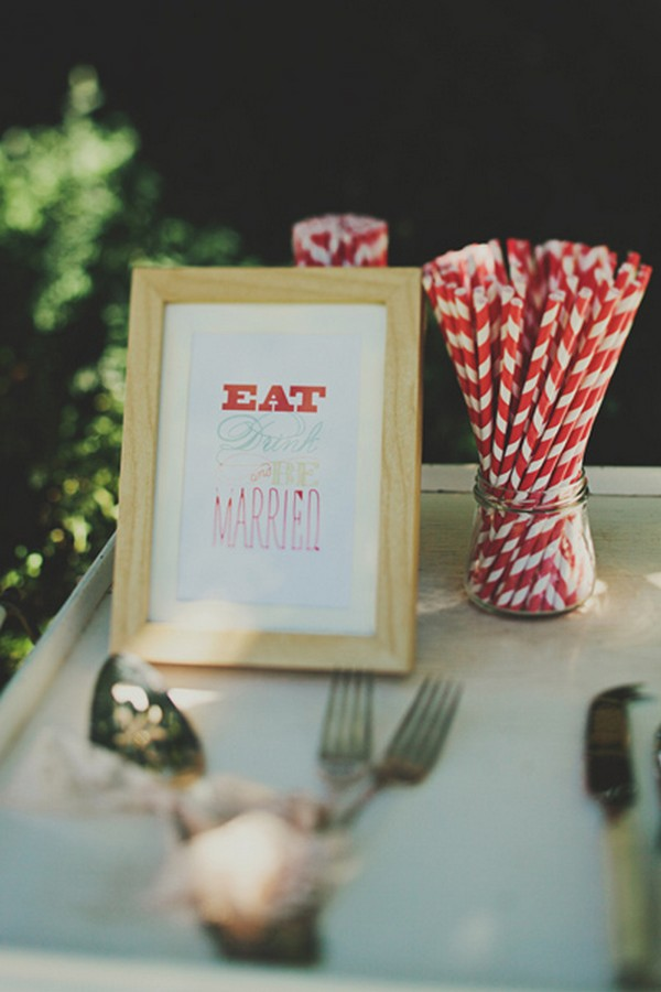 eat, drink, and be married sign on sweet table