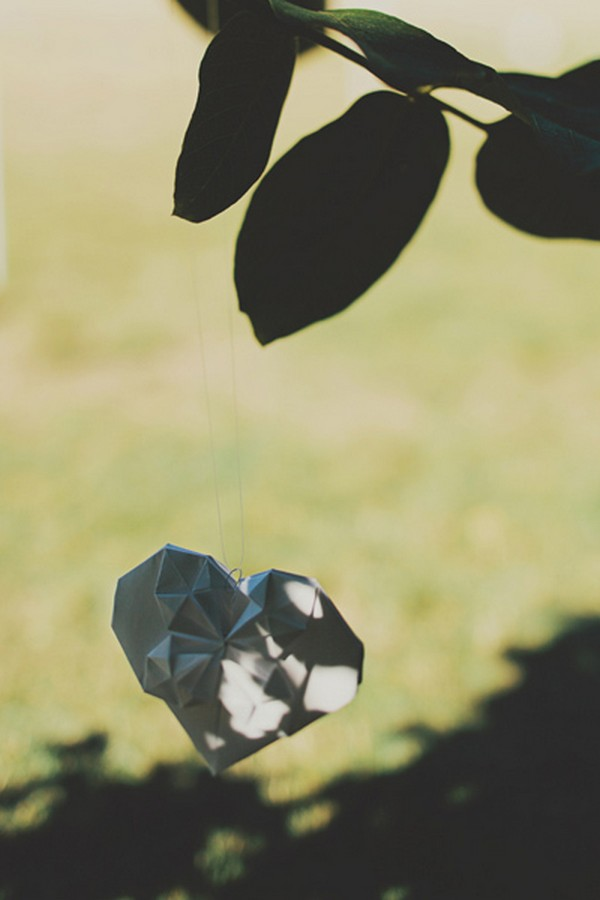 origami heart wedding decoration