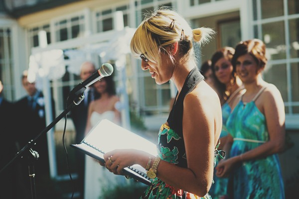 reading at outdoor wedding ceremony