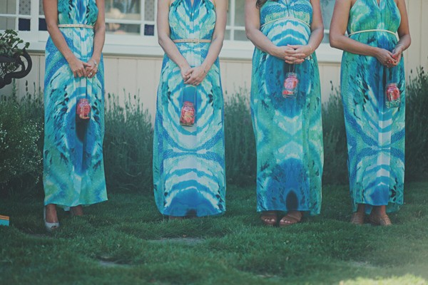 bridesmaids in tie dye wedding dresses