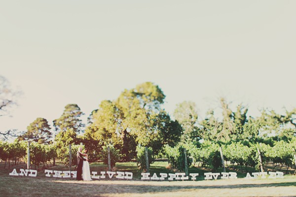 Bride and groom happily ever after banner