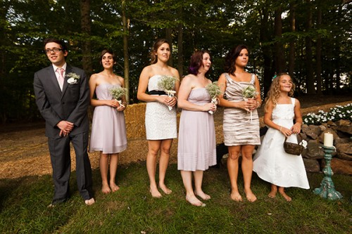 bridemaids at outdoor wedding
