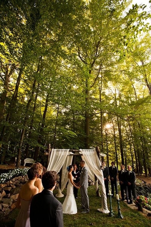 outdoor wedding ceremony forest