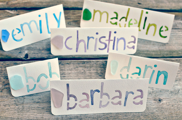 name cards with sea glass
