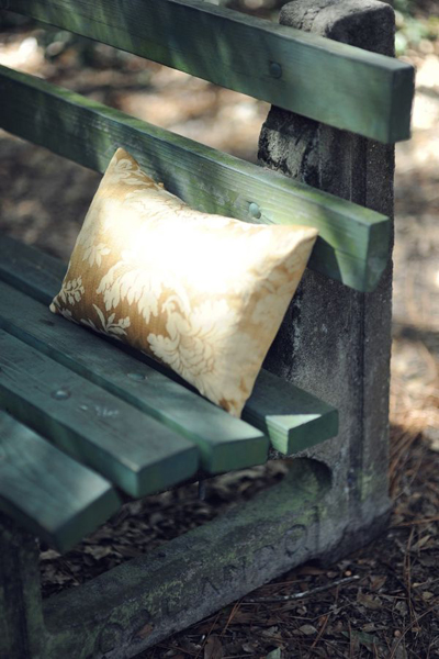 pillow on park bench
