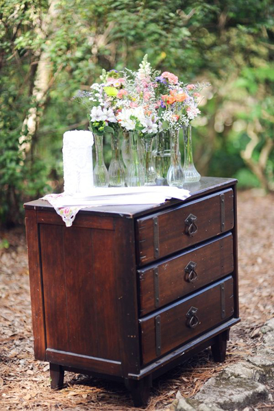 vintage furniture at outdoor wedding