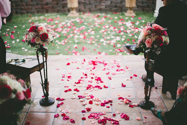 rose petal covered aisle