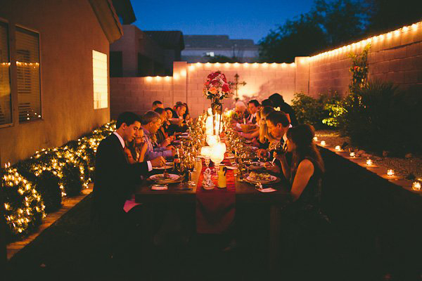 Arizona backyard wedding reception