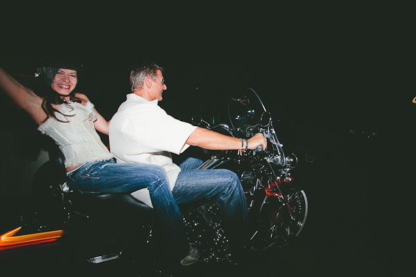 Motorcycle wedding getaway