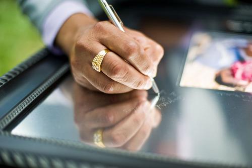 signing at wedding