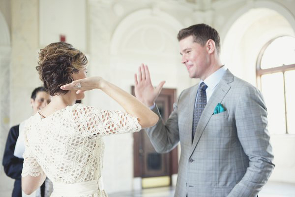 wedding high fives