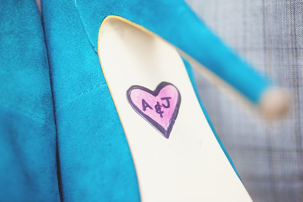 monogrammed blue suede wedding shoes