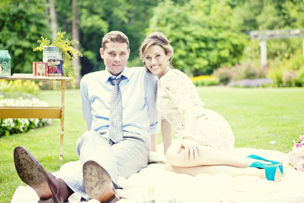 bride and groom picnic portrait