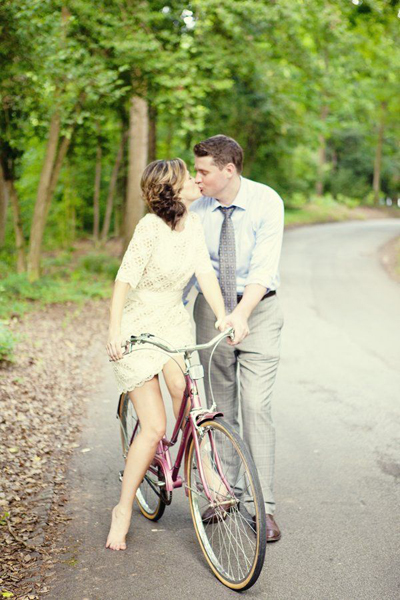 Bride and groom bicycle portrait