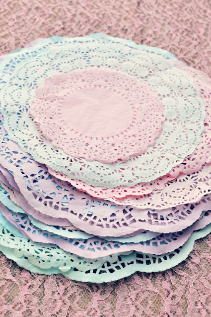 dyed doilies