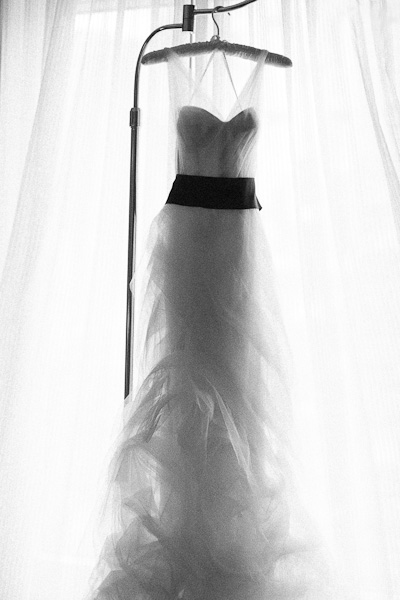 Vera Wang wedding dress with black sash