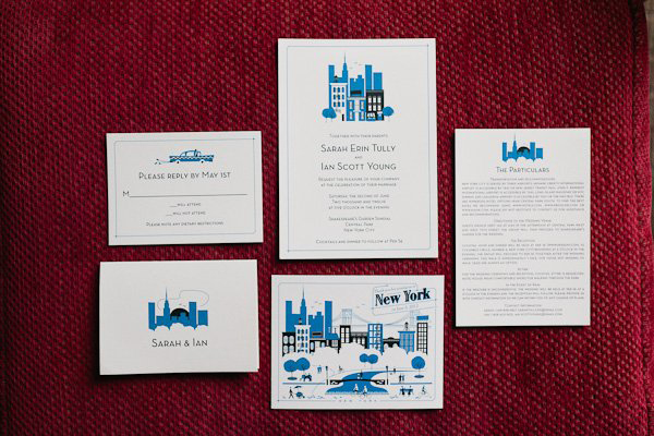 new york themed wedding invitation suite