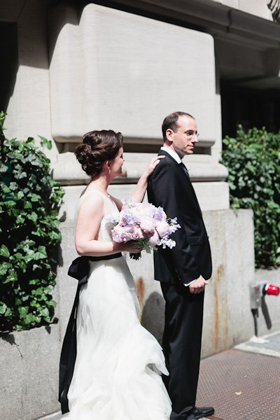 bride and groom first look in New York