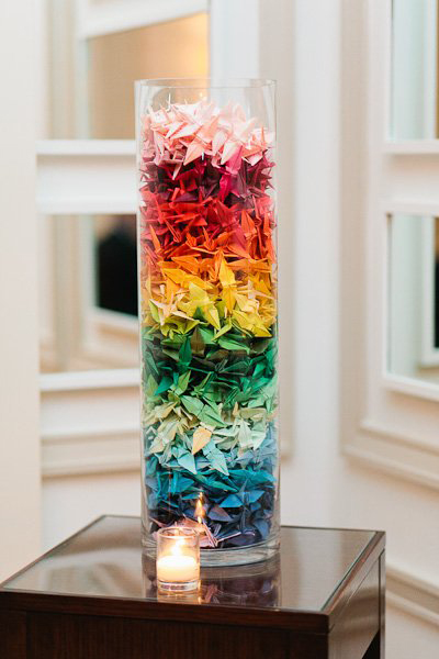 multi-colored paper cranes