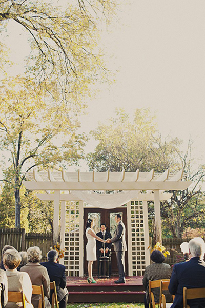 Urban farm outdoor wedding ceremony