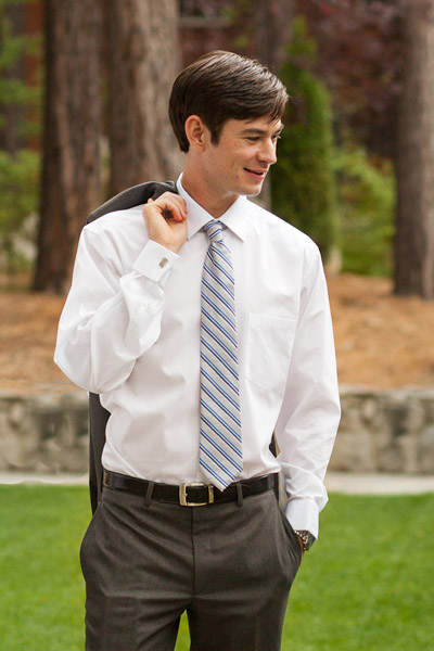 Groom in striped tie