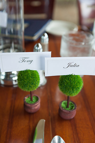 mini topiary place cards