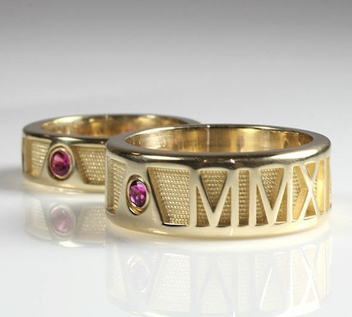Gold roman numeral bands