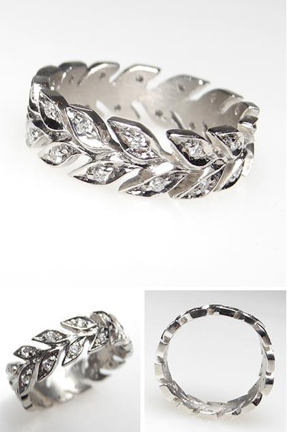 wheat band diamond ring