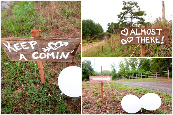 painted wood wedding signs