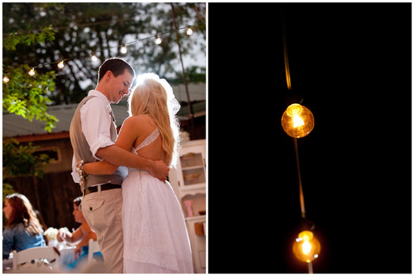 first dance under globe string lights