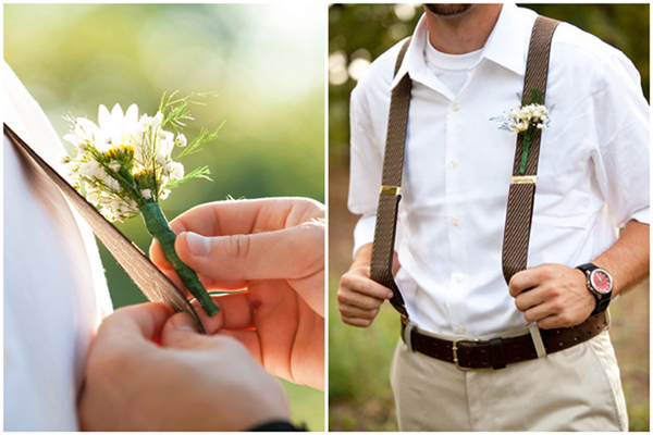 country groomsmen in suspenders