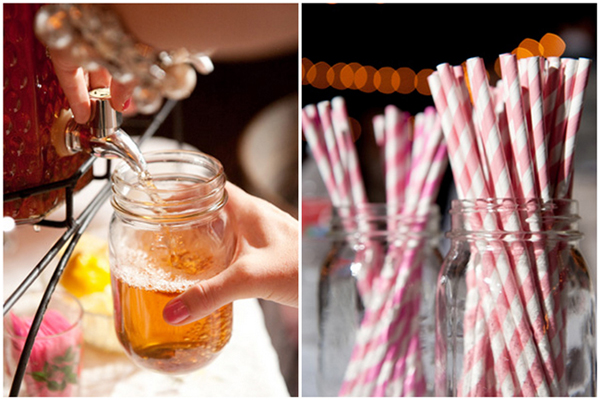 sweet tea in mason jars and pink striped straws