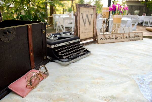 vintage typewriter guest book table