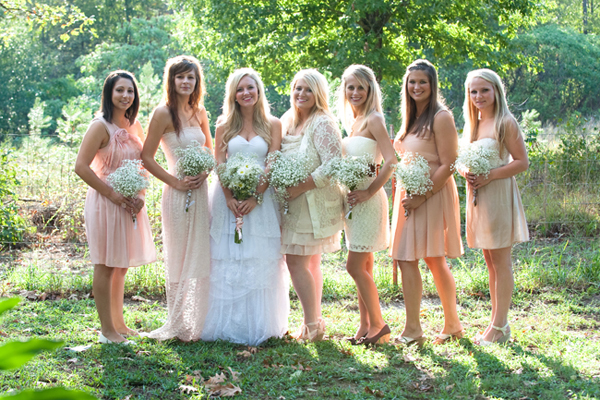 bridesmaids in mismatched dresses