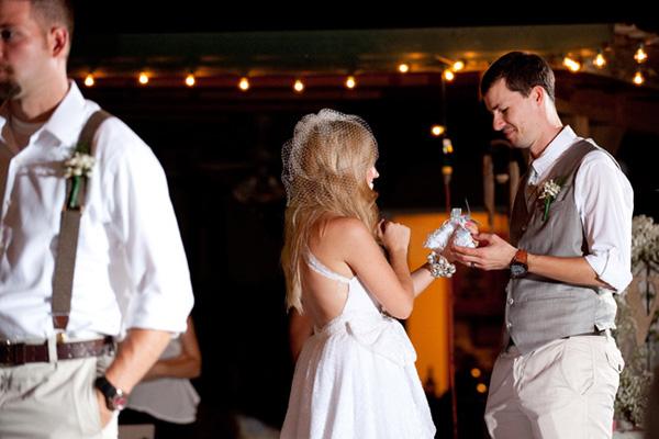 bride handing groom her garter