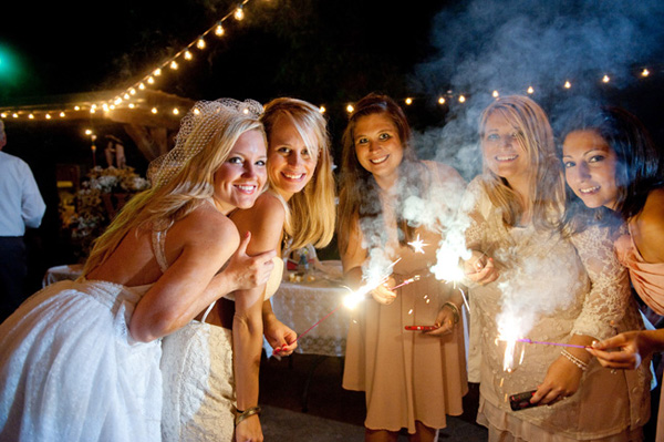 bridesmaids with sparklers