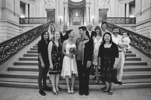 black and white wedding party portrait