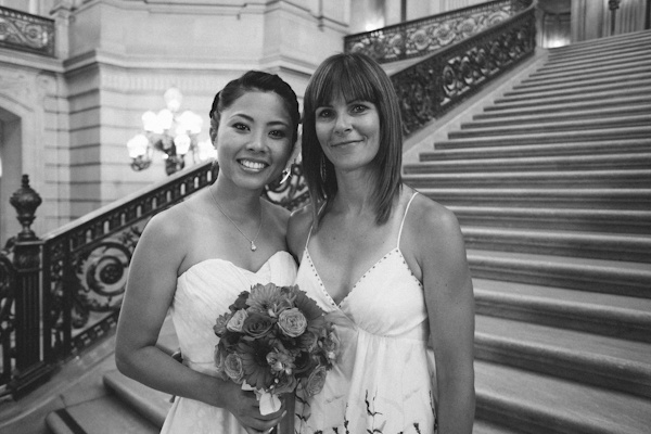 bride with wedding guest at city hall