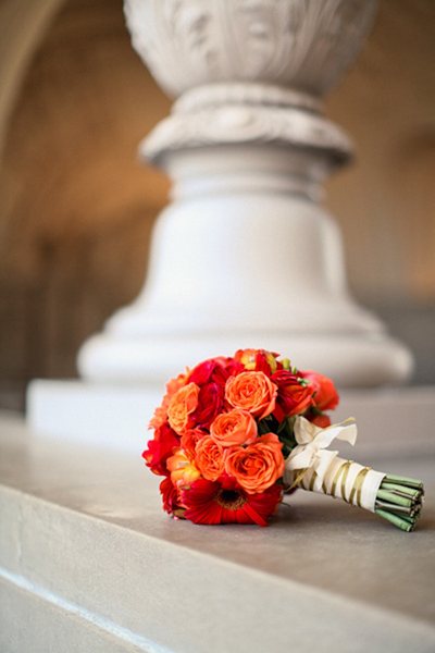 red and orange wedding bouquet