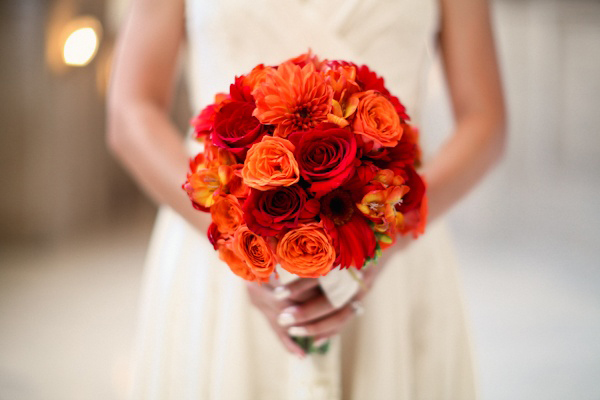 orange and red rose wedding bouquet