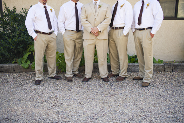 groomsmen in tan slacks