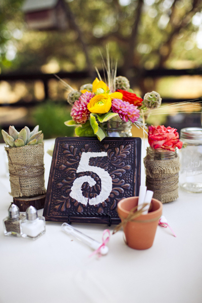 burlap wrapped succulent and dahlia centerpiece