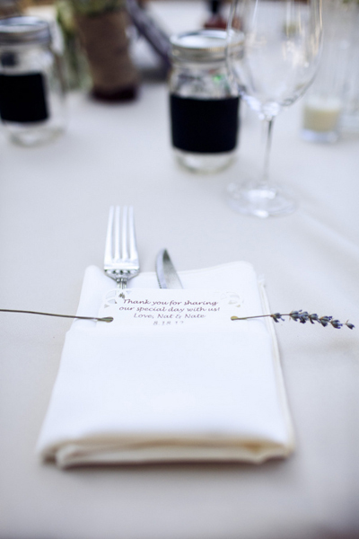 place setting with thank you tag