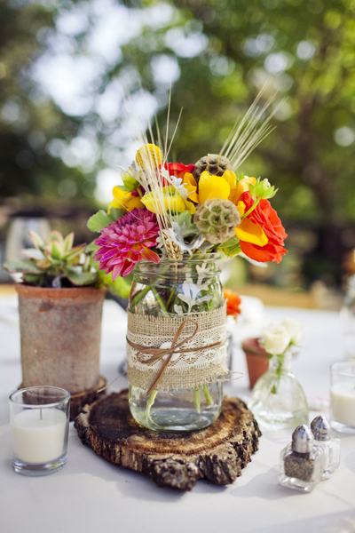 burlap and lace wrapped mason jar centerpiece