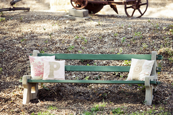 park bench with pillows