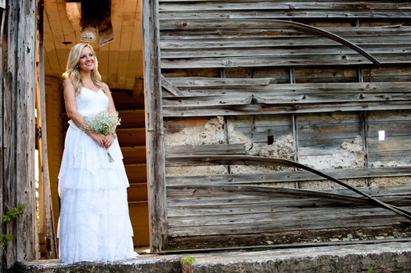 country bride in tiered wedding dress