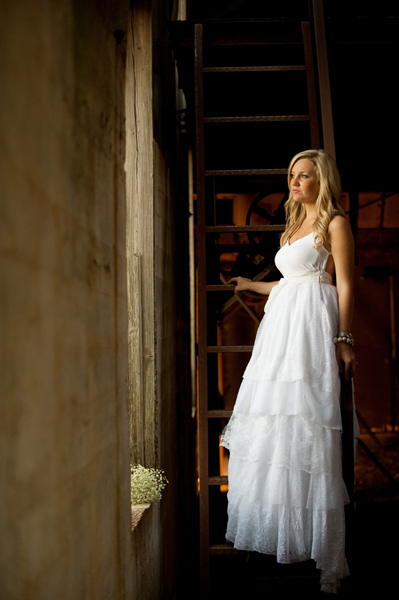 bride in barn