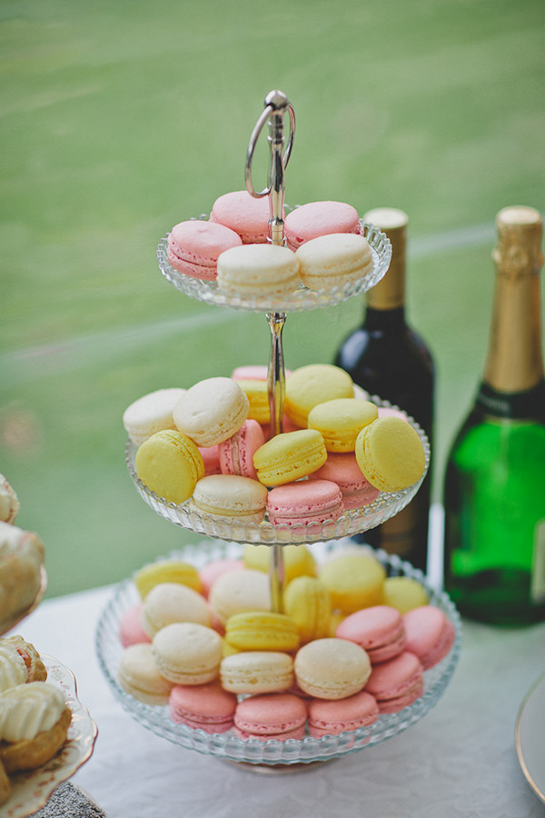 pink, yellow and white wedding macarons